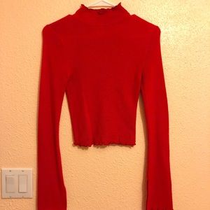Preowned Forever 21 Red Mock Neck Crop Top S.